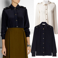 Shipping Top Fasion New Arrival 2014 Europe Women Fashion Brands High Quality Shirts Epaulet Single-breasted Sleeve Shirt Dark