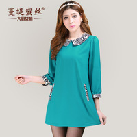 2014 spring one-piece dress plus size clothing turn-down peter pan collar ms-3104  Fashion sweet Casual