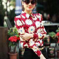 Shipping Promotion Hot Sale Button 2014 Europe Fashion Brands Women High Quality Shirts Sunflower Printing Lapel Sleeve Shirt