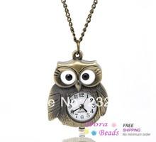 hot- Bronze Tone Necklace Owl Quartz Pocket Watch 86cm. (B13622)(China (Mainland))