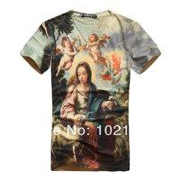 2014 New Style Summer 3D Oli Paint European Angel Women Printing Short Sleeve Cotton Man Causal O-Neck T-shirt Clothes M L XL