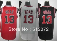Chicago #13 Joakim Noah Men's Authentic Home White/Road Red/Alternate Black Basketball Jersey