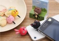 Free Shipping! 3D cartoon animal  rabbit pig chick bear cat dust plug earphone Jack  cap For apple iphone 5s 5c SAMSUNG