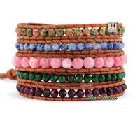 High Quality  Mixed Graduated Semi Precious Stones Leather Wrap Bracelet Handmade Natural Stone Leather Bracelet Wholesaler