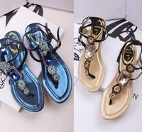 Summer rene caovilla rc gem rhinestone flat flip-flop female sandals free shipping