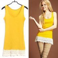 Free shipping / The new spring and summer han edition retro hem rib cotton lace crochet render condole belt vest