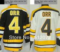Boston #4 Bobby Orr Men's Authentic Throwback Home Black/Road White Hockey Jersey