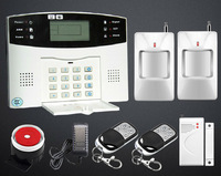 LCD wireless GSM home security alarm system sensors alarm support english and russian quad band