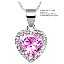 2014 New Style Love Heart Pink Statement Necklace Pendant for Engagement Wedding Vintage Woman Crystal Rhinestone