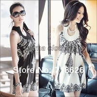 2014 Free Shipping Newest Totem floral prints ladies' slim strap dress Classic Vintage Collar Exotic Summer Mini Dress Sext 3166
