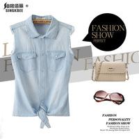 2014 spring new Fashion sleeveless denim shirt  paragraph denim vest blouses & shirts