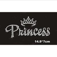 "The ""princess"" with crown hotfix rhinestone,heat transfer design iron on rhinestone motif(ss-1561)"