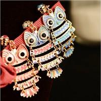 58 dr. peach colorful glaze new arrival owl mobile phone headphones  for iphone   dustproof plug