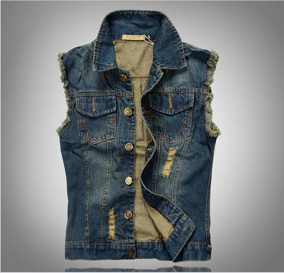 Free shipping Men's spring and summer autumn slim trend denim vest men's denim waistcoat(China (Mainland))