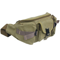 Multifunctional canvas waist pack large capacity cross-body casual male outdoor sports waist pack running chest pack