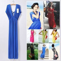 New Plus Size 8 Colors Women's Casual double-V bat sleeve brief one-piece long Bohemia Dress Maxi Sexy dress 2014Summer Beach