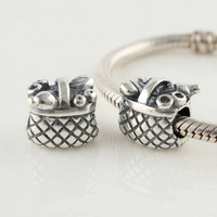 Wholesale 925 Sterling Silver European personalized combined flower basket Beads Stamped 925 ALE Fits European Bracelet LW137