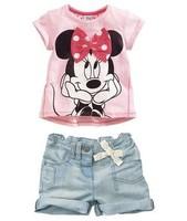 Retail 1set summer 2014 Baby girls clothing set  Minnie cotton t shirt +denim shorts clothing suits 2pcs ST040