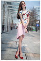 2014 spring summer women fashion clothing casual sets skirt and T-shirt flower print plus size clothes good quality free shiping
