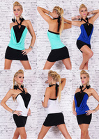 2014 New Women Sexy Mini dress Cocktail Club party Wear Halter Two-color dresses Nightwear F-409