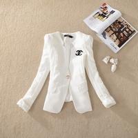 [R&V]2014 fashion women blazer korean plus size one button open neck slim outerwear suit RS6273
