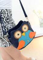 New arrival 2014 women's preppy style handbag color block cartoon owl messenger bag