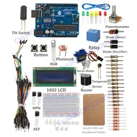 New SunFounder Lab UNO R3 1602 LCD Starter Kit  w/ Project Book For Arduino Nano Mega 2560