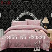 2014 Comforter sets Romantic Jacquard high-grade cotton king size bedding sets duvet cover bed sheet 4pcs Bedding Home Textile
