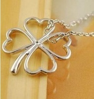 Min order $10 (mix order) Han edition hollow out smooth heart romantic happiness lucky grass clover necklace