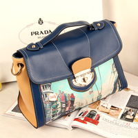 2014 print briefcase vintage one shoulder handbag messenger bag casual female bags 273