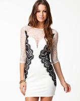 Newly Style Free Shipping Women Sexy Black White Cut Out Panel Mesh Insert Back Deep V Mini Dress 2014 Spring Fashion Dresses