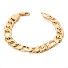 Heavy wide figaro gold bracelet men 12mm 9.5inches 18K Real Gold Plated big thick chain bracelet men Jewelry