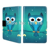 1PCS &Free shipping New Cute Owl Design Leather  Case Cover Skin for iPad mini 2+1PCS SCREEN PROTECTOR