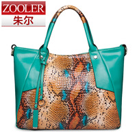 Serpentine pattern women's handbag color block cowhide shoulder bag fashion handbag big bags 2013