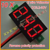 Wholesale 10pcs/lot Brand New DC 3.2V-30V Red Digital Voltage Panel Meter Voltmeter+Free shipping-10000373