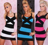 New Sexy Women Mini dress Cocktail Party Hammock Stripe Patchwork Nightwear Dresses