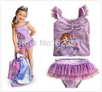 Original Princess Sofia Swimwear Kids Swimsuit for Girls Two Pieces Dress Bathing Swimming Suits Bikini Biquini UV Protection