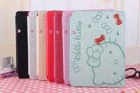 For iPad 5 iPad air Case Lovely Leather Skin Kitty Pattern Smart Cover Stand Holder Book For iPad5 iPadair Fashion Hot Wholesale