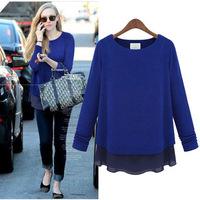 Chiffon shirt women fake two big yards long sleeve base shirt blouse large size women in Europe and America