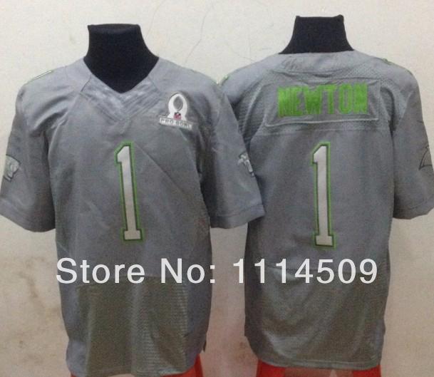 Free shipping 2014 Pro Bowl Team Sanders Houston # 1 Cam Newton Grey Game Jersey American Football Jerseys embroidery logo(China (Mainland))