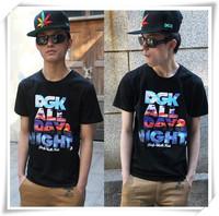 Free Shipping Fashion Cosmic Star Stunning New Letters Printed DGK Men Short-sleeved T-shirt for Men  Retail