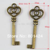 free shipping 12pcs 64-944 antique bronze 20x60mm key  jewelry charm diy decoration fashion metal beads  jewelry charm