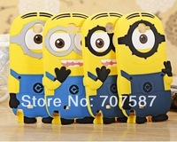 Newest cartoon model Yellow Minion Black eyebrow silicon material Despicable Me Cover for iphone Case for Samsung Galaxy S3 S4