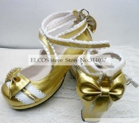 Sweet gold cosplay Lolita Shoes (Salome)  as  Halloween Cosplay Shoes