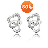 6 colors heart wholesale white gold plated crystal fashion stud earrings jewelry for women E1649