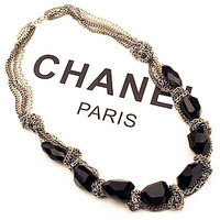 For nec  klace fashion exaggerated necklace vintage accessories black gem short necklace female accessories