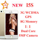5S I5 5G 4.0'' 8GB ROM 512 RAM Android4.2 MTK6572 Dual Core 1.3GHZ 3G WCDMA GPS 5MP IO S7 unlocked smart phone(China (Mainland))