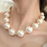 Fashion necklace luxury big pearl elegant rhinestone ball chain short design necklace the bride accessories