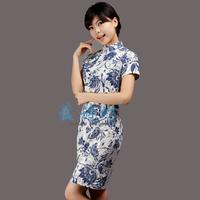 National trend women's fluid slim cheongsam dress fashion summer vintage design linen short cheongsam