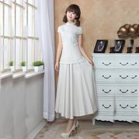 Fashion linen skirt bust fluid expansion bottom full  vintage solid color summer 2014 cheongsam